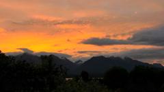 New Zealand Lake Manapouri orange sunset Stock Footage