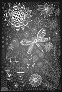 Flora and fauna doodles Stock Illustration