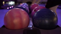 Lunar Bowl At Bowling Alley Stock Footage