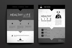 Set of brochure, poster design templates in healthcare style Stock Illustration