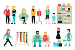 Vector shopping and shipping flat icons set. Mall Staff, Happy Buyers Isolated - stock illustration