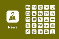 Set of news simple icons - stock illustration