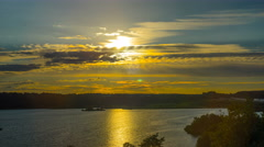 8K Sunset over the lake, panoramic time-lapse Stock Footage