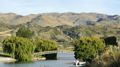 New Zealand bridge at Lake Dunstan Stock Footage
