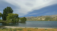 New Zealand dark cloud over Lake Dunstan Stock Footage