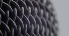 Microphone Spinning Macro Close Up of Metal Mesh on Mic, 4K Stock Footage