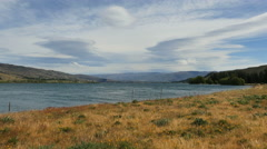 New Zealand Lake Dunstan and grass Stock Footage