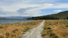 New Zealand path and poppies by Lake Dunstan Stock Footage