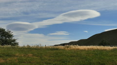 New Zealand wave cloud above blowing grass Stock Footage