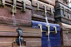 Storehouse of old suitcases Stock Photos