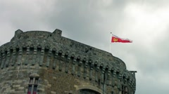 Emblem flag is floatin on the tower of Fortification Stock Footage