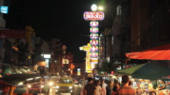 Traffic on Yaowarat Road Chinatown district in Bangkok, Thailand. Stock Footage