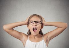 Stressed teenager girl screaming Stock Photos