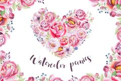Watercolor vintage floral piony heart bouquet. Boho spring flowe Stock Illustration