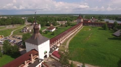 Real old ancient Russian Cyril-Belozersky St. Cyril monastery. Stock Footage