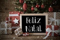 Nostalgic Tree, Snowflakes, Feliz Natal Means Merry Christmas Kuvituskuvat