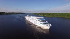 River cruise ship aerial view. Fast moving. Beautiful Russian nature.  Stock Footage