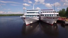River cruise ship close aerial view. Beautiful Russian nature.  Stock Footage