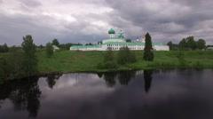 Holy Trinity Alexander Svirsky Monastery. Drone aerial flightower.  Stock Footage
