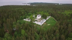 The Skete of All Saints. Valaam Island, Karelia from above. Monastery dramatic. Stock Footage