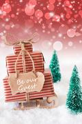 Vertical Christmas Sleigh On Red Background, Text Be Our Guest Stock Photos