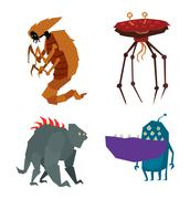 Alien monster vector illustration - stock illustration