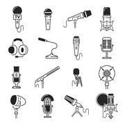 Vector microphone icons - stock illustration