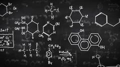 Chemical formulas on black background. Science concept. Stock Illustration