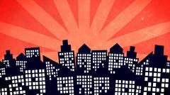 Illustration of a cartoon city buildings Stock Illustration