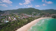 Kata Beach and Town in Phuket Thailand, Ascending Pan Shot Stock Footage