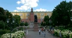 Alexander garden, monument to Patriarch Hermogenes, Kremlin Stock Footage