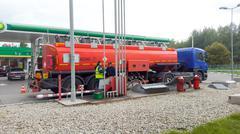 Gasoline tanker truck Stock Photos
