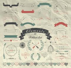 Vector Hand Drawn Design Elements and Ribbons Set - stock illustration