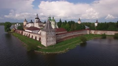 Real old ancient Russian Cyril-Belozersky St. Cyril monastery. Fortress walls. Stock Footage