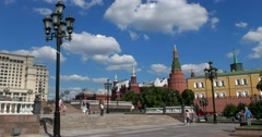 Beautiful views of the Kremlin on a Sunny day, Manezh square, stairs Stock Footage