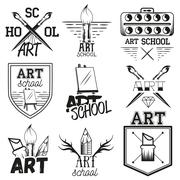 Vector set art studio labels in vintage style. School of arts design elements Stock Illustration