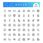 Water Line Icons Set Stock Illustration
