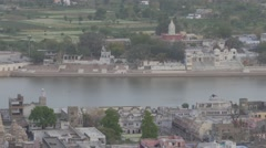 View on town with holy lake and ghats,Pushkar,India Stock Footage