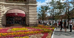 Flower garden, State Department Store, Red Square Stock Footage