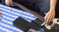 Electric Guitar Acoustic Tune Stock Footage