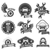 Vector set of auto service labels in vintage style. Car repair shop banners Stock Illustration