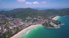 Aerial Pan Shot of Kata Noi and Kata Beach Towns in Phuket Thailand Stock Footage