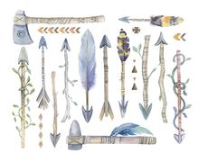 Watercolor aztec boto arrows set with Hand Painted Leaves and Stock Illustration