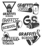 Vector set of graffiti school labels in vintage retro style. Street art design - stock illustration