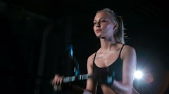 Caucasian woman doing Exercises for Tricep in fitness gym Stock Footage