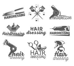 Vector set of hair salon labels in vintage style. Beauty and barber shop - stock illustration