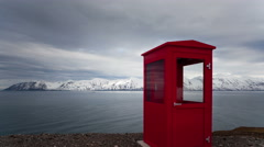 4K Timelapse Iceland red phone booth tilt shot Stock Footage