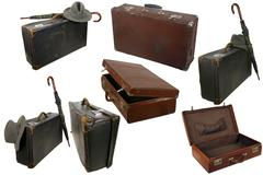 Old brown suitcase on white Stock Photos