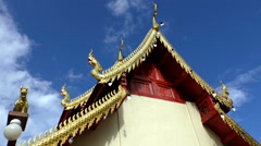 Blue sky and Pagoda roof Thailand Stock Footage