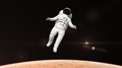 Astronaut Flying Over The Mars Surface Stock Footage
